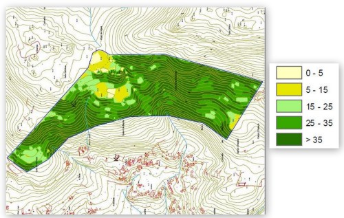 Mapa de pendentes do Monte Pituco-Pornedo onde se localizaría o suposto polígono.