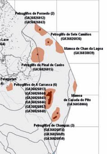 Mapa de xacementos catalogados na zona afectada polo polígono (páxina 72, Informe Sostibilidade Ambiental do PXOM anexo I)