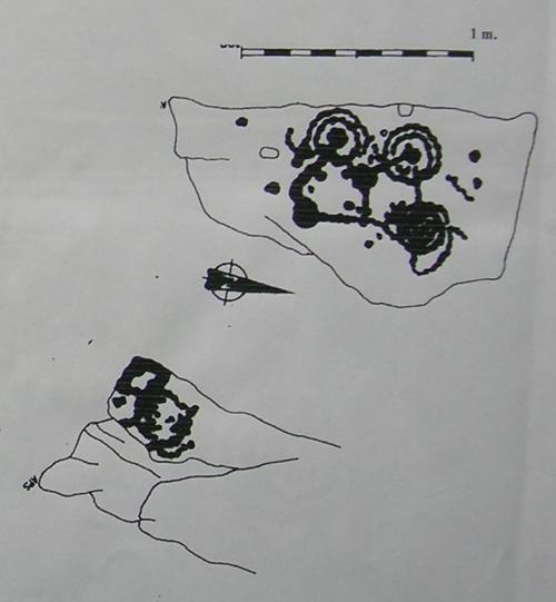 Debuxos dos petroglifos de Piñeiral de Caeiro.