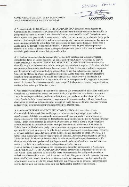Informe presentado en febreiro de 2011 á Comunidade de Montes de San Xulián, asinado polo presidente confirmando a recepción.