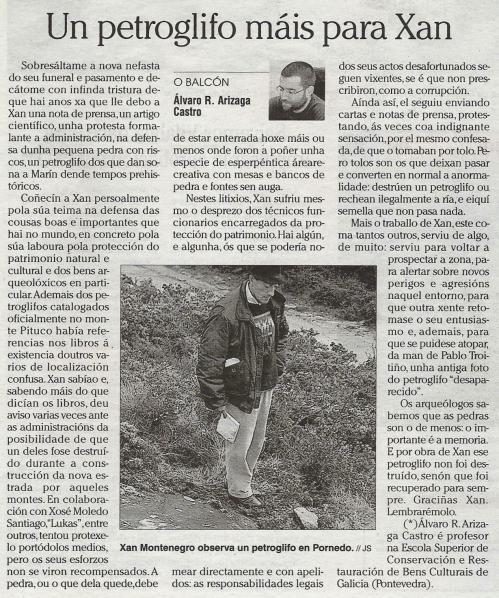 Faro de Vigo, 26 de xuño de 2011. Artigo de Álvaro Arizaga sobre Xan Montenegro.