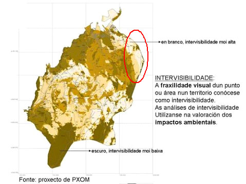 Mapa de INTERVISIBILIDADE ou FRAXILIDADE VISUAL incluido no proxecto de PXOM de Marín.