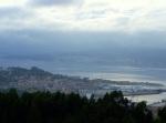 Vista parcial de Marín dende o Alto do Pornedo, entre lusco efusco.