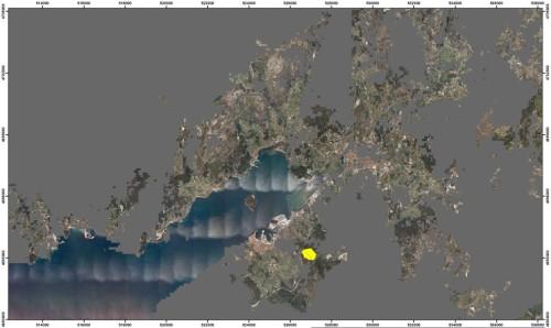 Plano da conca visual do espazo afectado polo proxecto da Plataforma Loxística Marín-Pontevedra.