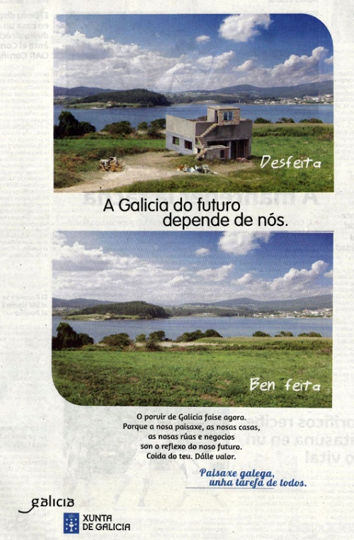 Campaña publicitaria pola Paisaxe Galega, novembro de 2012.