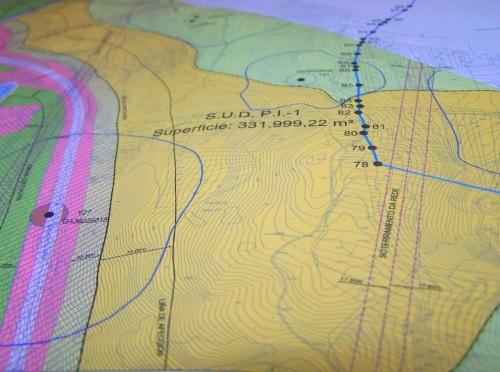Plano do PXOM de Marín que afecta ao Monte Pituco, onde prevé a instalación dun polígono industrial.