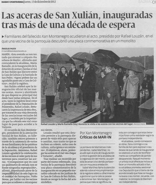 Diario de Pontevedra, 13 de decembro de 2012.