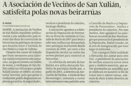 Diario de Pontevedra, 15 de decembro de 2012.