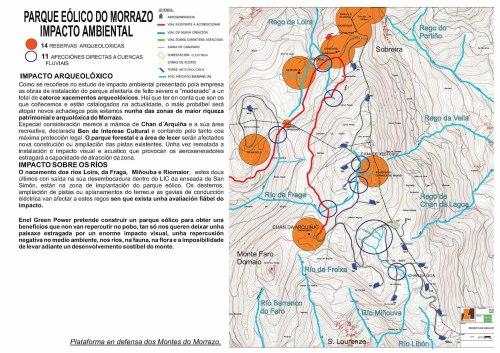 Afección ao nacementos de ríos e xacementos arqueolóxicos.