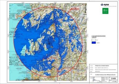 Impacto visual do parque eólico de Pedras Negras.