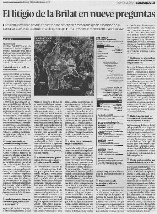 Diario de Pontevedra, 28 de novembro de 2012.