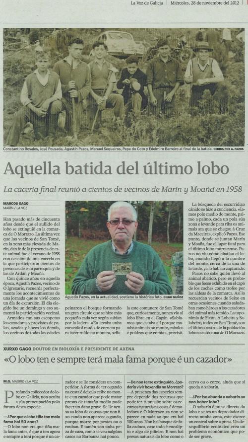 La Voz de Galicia, 28 de novembro de 2012.