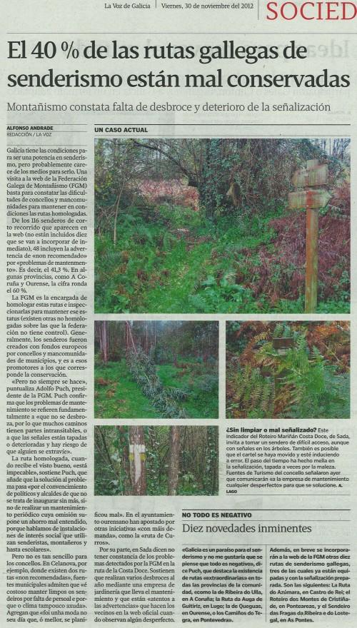 La Voz de Galicia, 30 de noviembre de 2012.