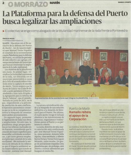 Diario de Pontevedra, 2 de febreiro de 2013.