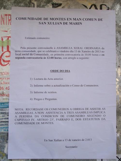 Domingo 13 de xaneiro, asemblea da Comunidade de Montes de San Xulián.
