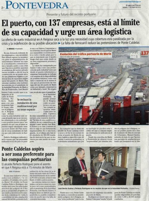 Faro de Vigo, 11 de xaneiro de 2013.