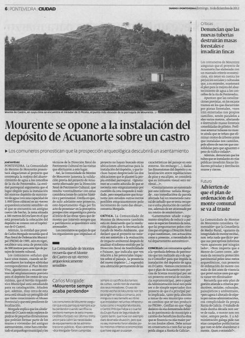 Diario de Pontevedra, 16 de decembro de 2012.