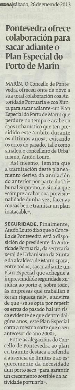 Diario de Pontevedra, 26 de xaneiro de 2013.