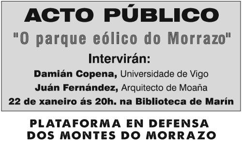 Charla en Marín contra o proxecto do parque eólico de Pedras Negras.
