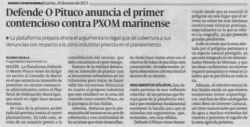 Diario de Pontevedra, 29 de xaneiro de 2013.
