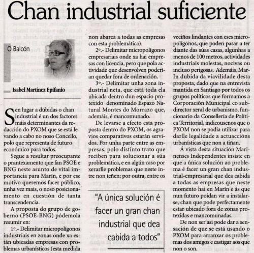 Artigo publicado por Isabel Martínez Epifanio no Faro de Vigo.