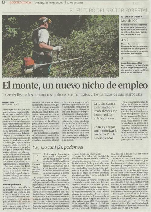 La Voz de Galicia, 3 de febreiro de 2013.
