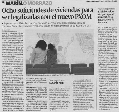 Diario de Pontevedra, 5 de febreiro de 2013.