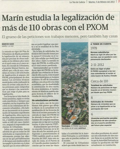 La Voz de Galicia, 5 de febreiro de 2013.