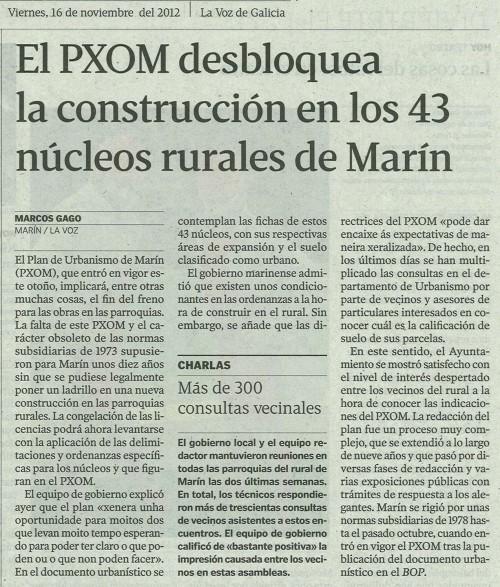 La Voz de Galicia, 16 de novembro de 2013.
