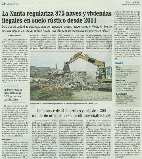Faro de Vigo, 20 de xaneiro de 2013.