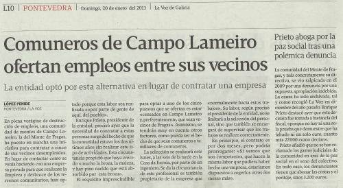 La Voz de Galicia, 20 de xaneiro de 2013.