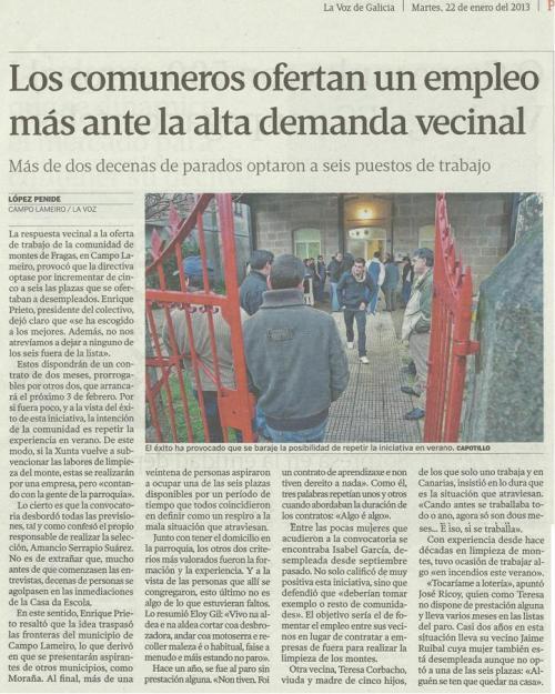 La Voz de Galicia, 22 de xaneiro de 2013.