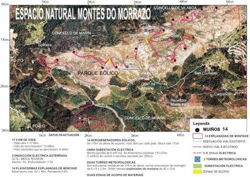 Afeccións do proxecto do parque eólico de Pedras Negras (fonte: Morrazo 20 20).