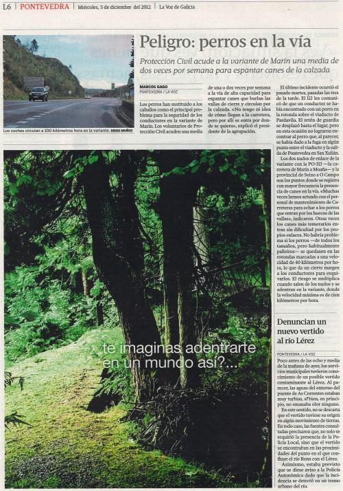La Voz de Galicia, 5 de diciembre de 2012.