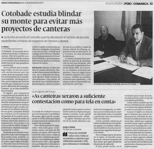 Diario de Pontevedra, 6 de decembro de 2012.