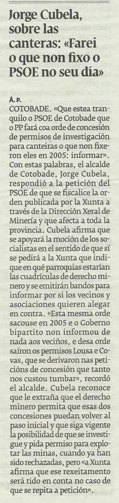 Diario de Pontevedra, 23 de febreiro de 2013.
