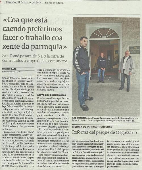 La Voz de Galicia, 27 de marzo de 2013.
