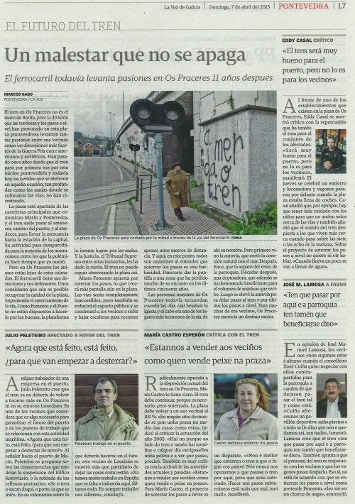 La Voz de Galicia, 7 de abril de 2013.