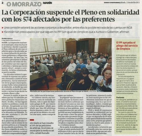 Diario de Pontevedra, 13 de abril de 2013.