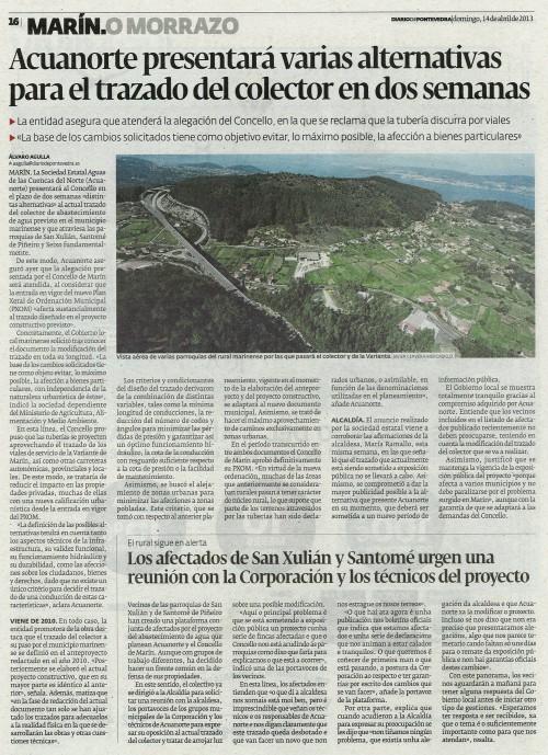 Diario de Pontevedra, 14 de abril de 2013.