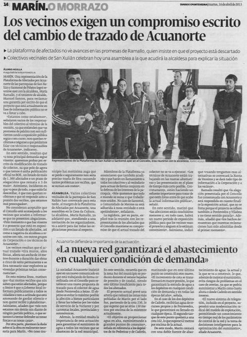 Diario de Pontevedra, 16 de abril de 2013.