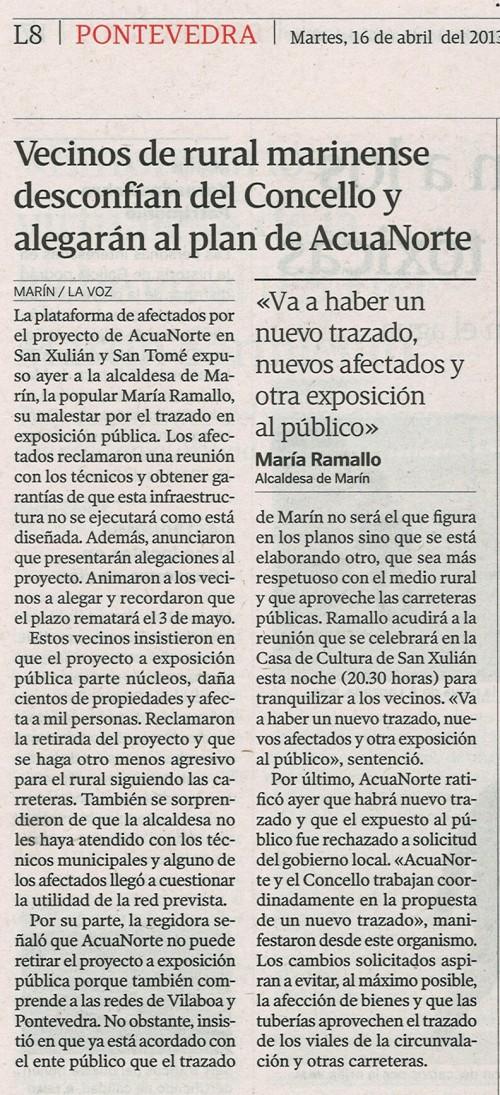 La Voz de Galicia, 16 de abril de 2013.