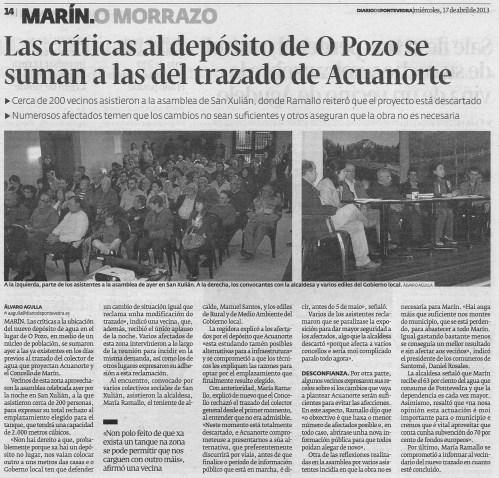 Diario de Pontevedra, 17 de abril de 2013.