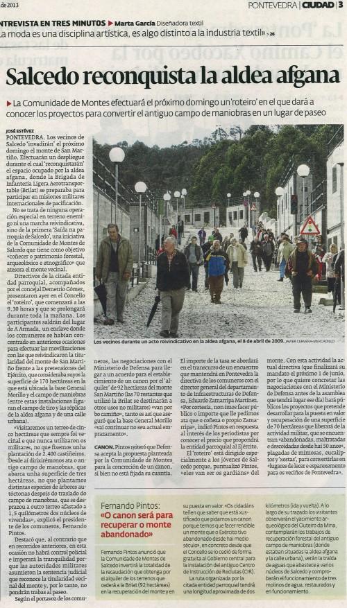 Diario de Pontevedra, 18 de abril de 2013.