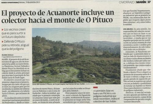 Diario de Pontevedra, 19 de abril de 2013.