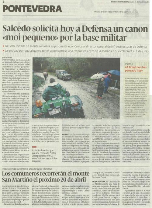 Diario de Pontevedra, 21 de marzo de 2013.