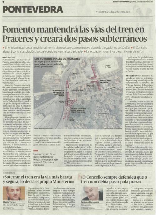 Diario de Pontevedra, 28 de marzo de 2013.