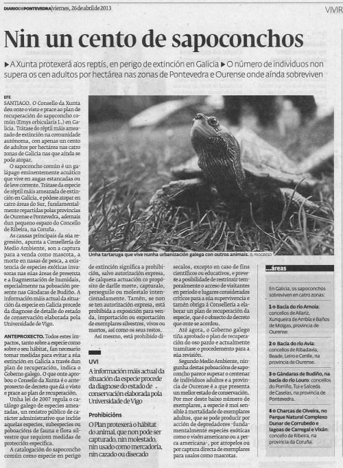 Diario de Pontevedra, 26 de abril de 2013.