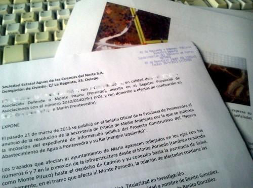 Alegación de Defende o Monte Pituco contra o trazado de Acuanorte.