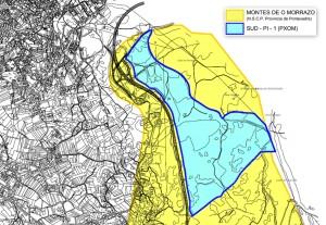 Plano do polígono superposto co Espazo Natural Protexido dos Montes do Morrazo.